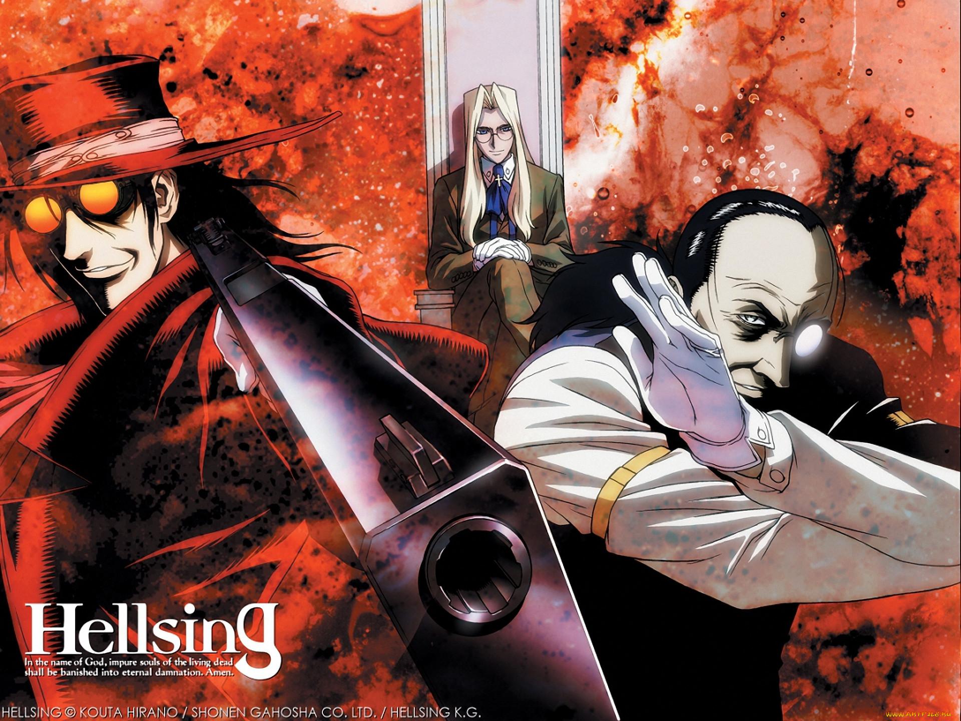 аниме, hellsing, алукард, integra, оружие, дракула, walter, alucard, vampire